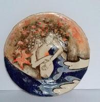 plat céramique fait décoré main les amoureux piatto in ceramica fatto decorato a mano gli innammorati