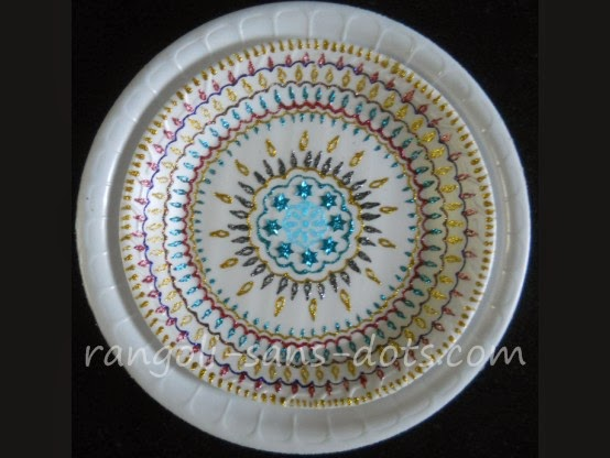 Plate art decoration ideas thermocol paper plate for Art and craft for diwali decoration