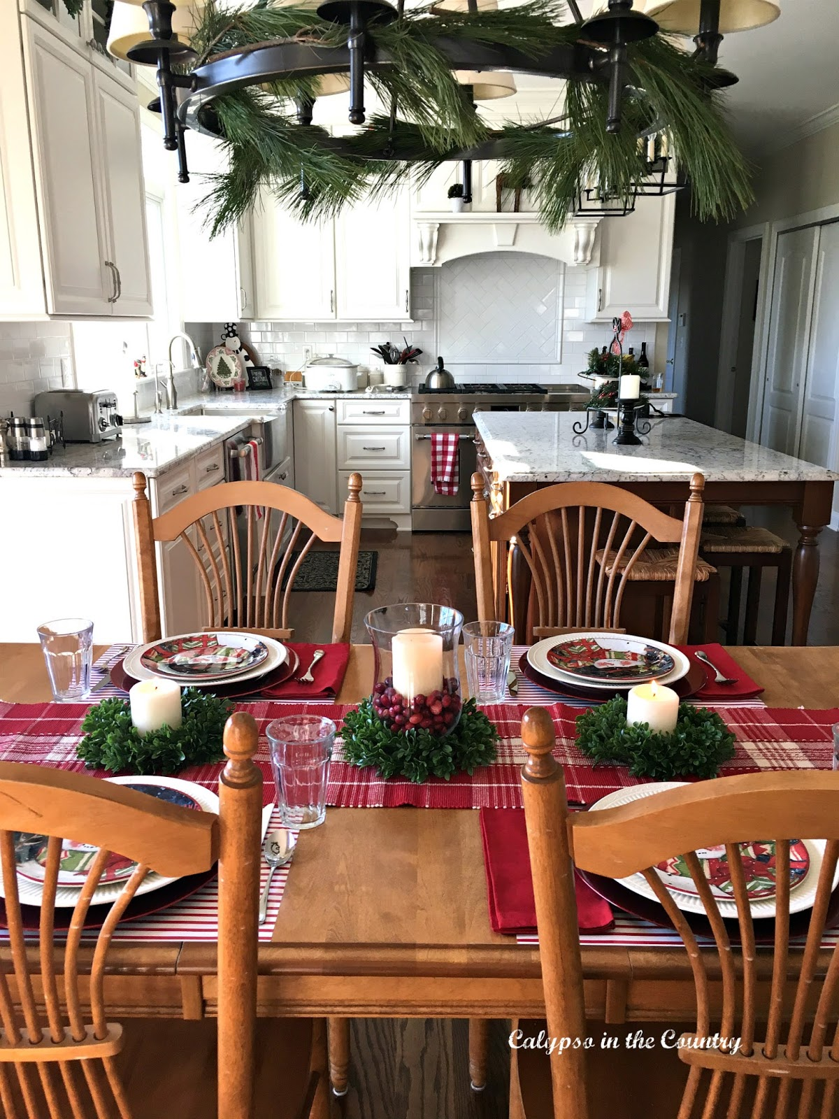Red Table Setting in White Kitchen
