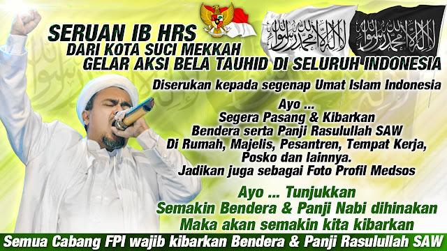 Habib Rizieq Serukan Pengibaran Panji Rasulullah di Seluruh Posko FPI