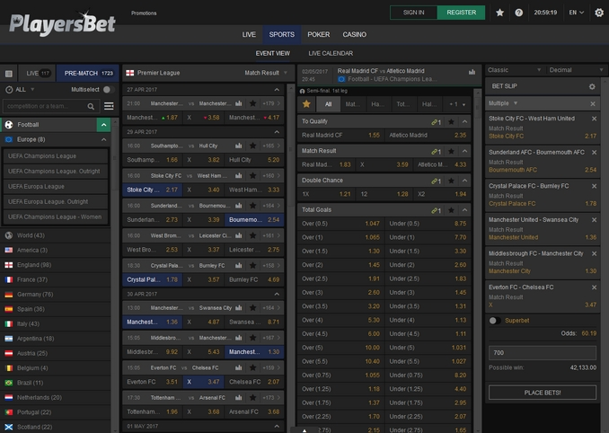 PlayersBet Screen