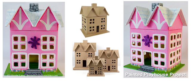 Annie Lang shares her painted  paper mache house project ideas and instructions.