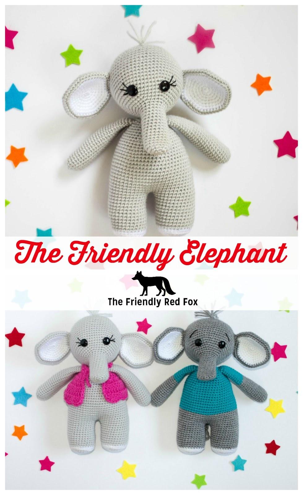 Elton the Elephant Free Crochet Pattern - Stuffed Hearts | 1600x979