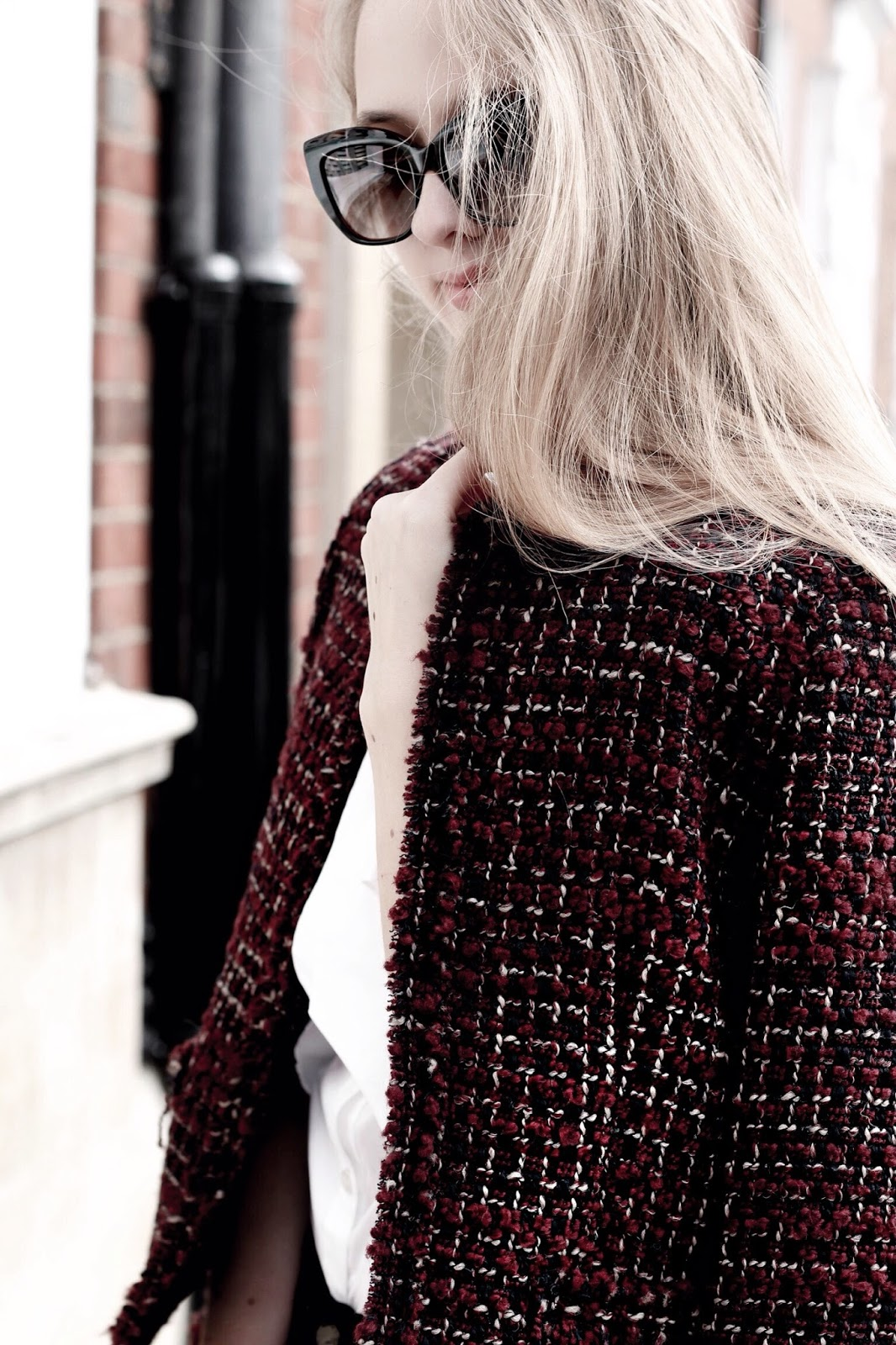 Gerard Darel Burgundy Tweed Jacket Fashion Blogger