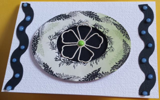 Floral hand stamped C6 card