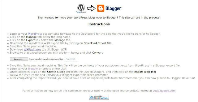 Convertir xml de Wordpress a xml de blogger