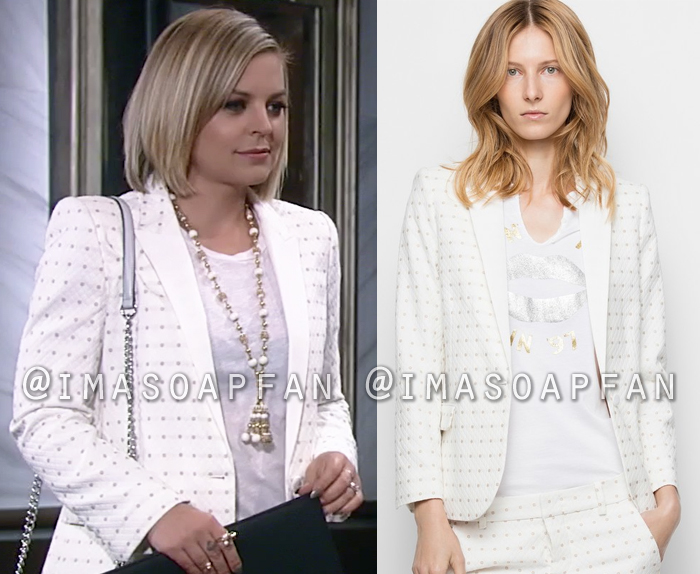 Maxie Jones, Kirsten Storms, White Jacquard Blazer with Gold Floral Dots, General Hospital, GH