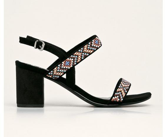 Marco Tozzi - Sandale negre cu toc gros si elemente colorate moderne