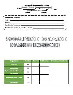 Exámenes Segundo grado Diagnostico Ciclo Escolar 2018-2019
