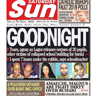 Saturday sun Newspaper Headlines Of The Day