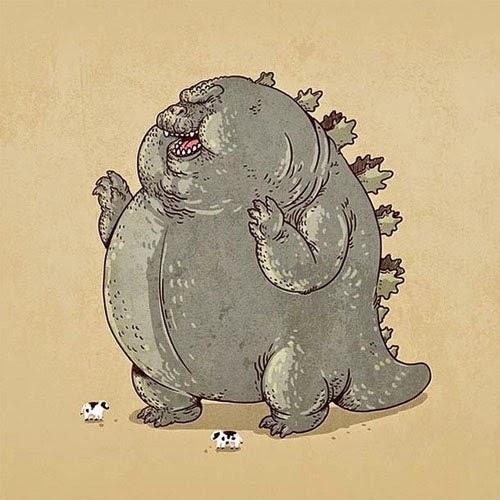 Fat Super Hero Gemuk - Fat Godzilla