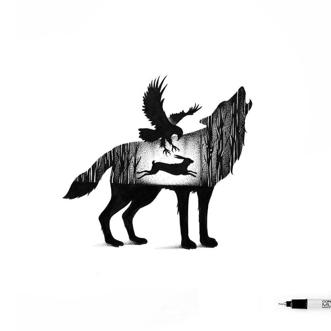 02-Eagle-Hare-and-Wolf-Thiago-Bianchini-Ink-Animal-Drawings-Within-a-Drawing-www-designstack-co