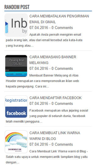Cara Membuat Random Post Thumbnail di Blog