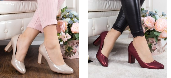 Pantofi Casoli rosii, bej cu toc gros de zi ieftini si frumosi