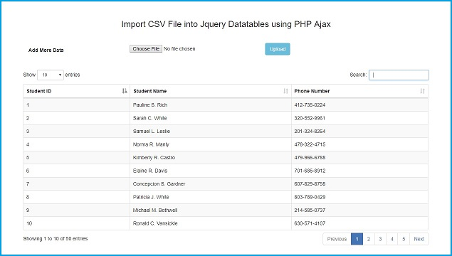 How to Load CSV File in JQuery Datatables using Ajax PHP