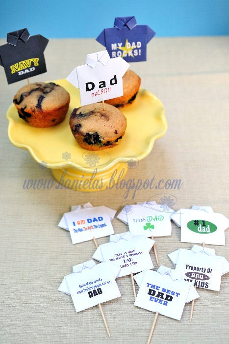DIY Origami Shirt Cupcake Toppers for Father's Day - via BirdsParty.com
