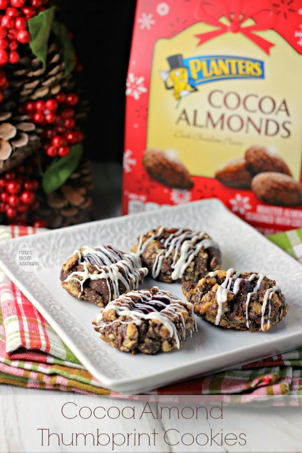 Cocoa Almond Thumbprint Cookies | Renee's Kitchen Adventures  Double cocoa goodness in a delicious almond thumbprint cookie #gonutsfornuts #shop