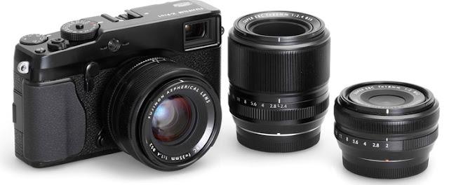 Fotografia della Fuji X-Pro1 con le ottiche (il 18mm f/2, il 35mm f/1.4 e il 60mm f/2.4)