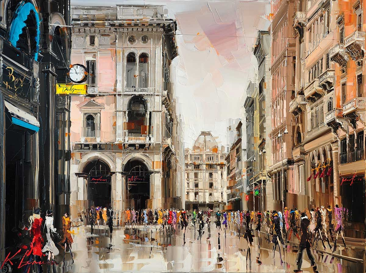 17-Milano-Fashion-capital-Kal-Gajoum-Paintings-of-Dream-Like Cities-of-the-World-www-designstack-co