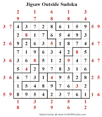 Jigsaw Outside Sudoku (Daily Sudoku League #200) Puzzle Answer