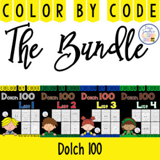 Color By Code Dolch 100 Words Bundle