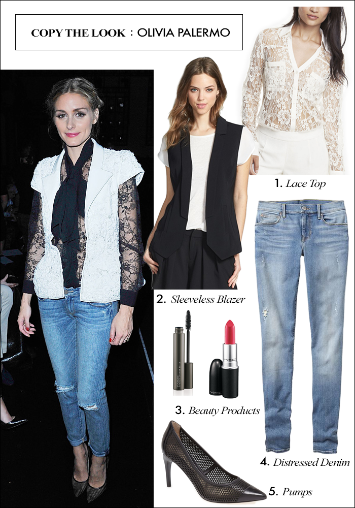 lace top, how to wear distressed denim