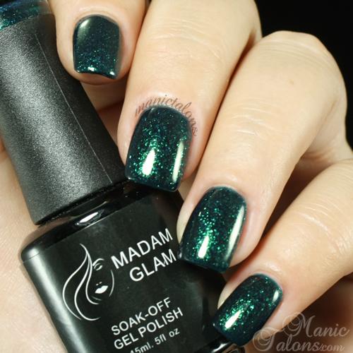Madam Glam Gel Polish 164 Glittery Emerald Swatch