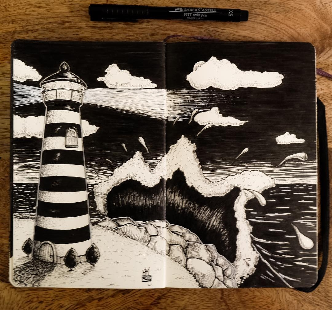 09-Lighthouse-mrc_artworks-Sketching-Inspirations-on-a-Moleskine-Notebook-www-designstack-co