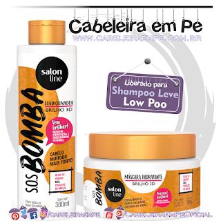 Condicionador e Máscara SOS Bomba Brilho 3D - Salon Line (Low Poo)