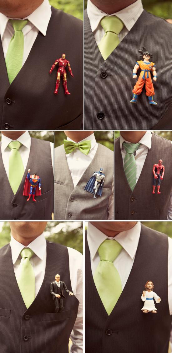 superhero wedding, Superhero boutonnieres