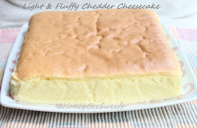Japanese Bouncy Cake Recipe: Honey Bee Sweets: Light Chedder Cheesecake