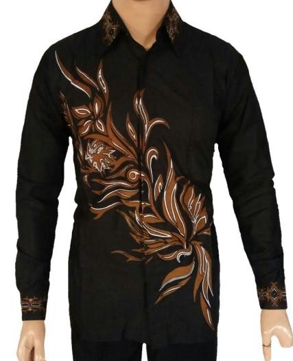 10 Model Baju Batik Pria Lengan Panjang Kombinasi Kain Polos