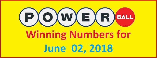 PowerBall Winning Numbers for Saturday, 02 June 2018