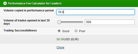 Tabla para el cálculo de comisiones para traders en Share4you