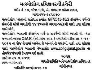 Gujarat Fisheries Department Field Man Class-3 Selection List & Waiting List