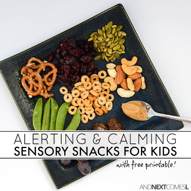 Free printable list of alerting and calming oral motor sensory snacks for kids from And Next Comes L