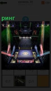 В зрительном зале установлен ринг под освещением и готовым к соревнованиям