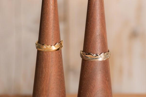 Peaks Ring K18YGとPeaks Ring K18WG1
