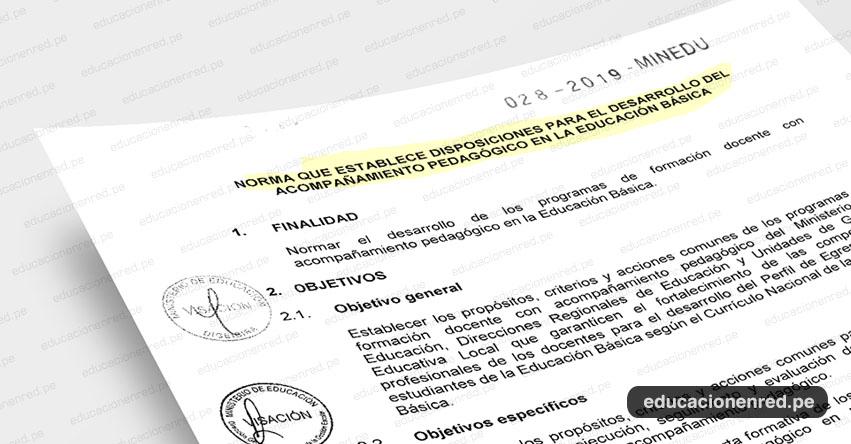 MINEDU publicó anexos de la «Norma Técnica que establece disposiciones para el Desarrollo del Acompañamiento Pedagógico en la Educación Básica» (R. VM. N° 028-2019-MINEDU) www.minedu.gob.pe