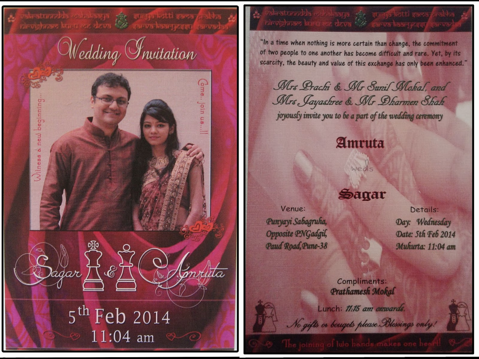 Marathi Wedding Invitation Wording Sample: Chess Is My Life!: A Chess Themed Indian Wedding