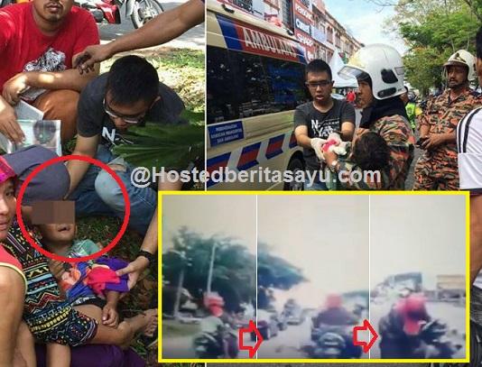 Saat ngeri tangan budak disedut masuk celah rim motosikal ibu nya ketika membonceng (6 Gambar)