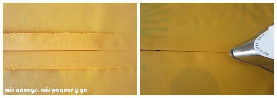 mis nancys, mis peques y yo, tutorial DIY funda de cojín sencilla con cremallera y volante, abrir y planchar costura