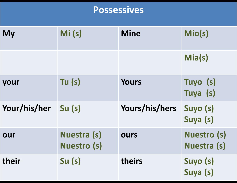 Possessive Adjectives Pronouns Spanish