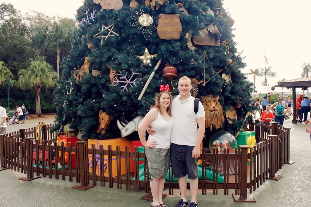 couple standing in front of Christmas tree at Animal Kingdom