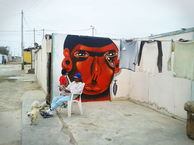 Street Art By Jade For Proyecto Afuera in Pisco, Peru. second wall 2