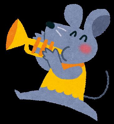 ネズミとトランペットのイラスト(音楽隊)