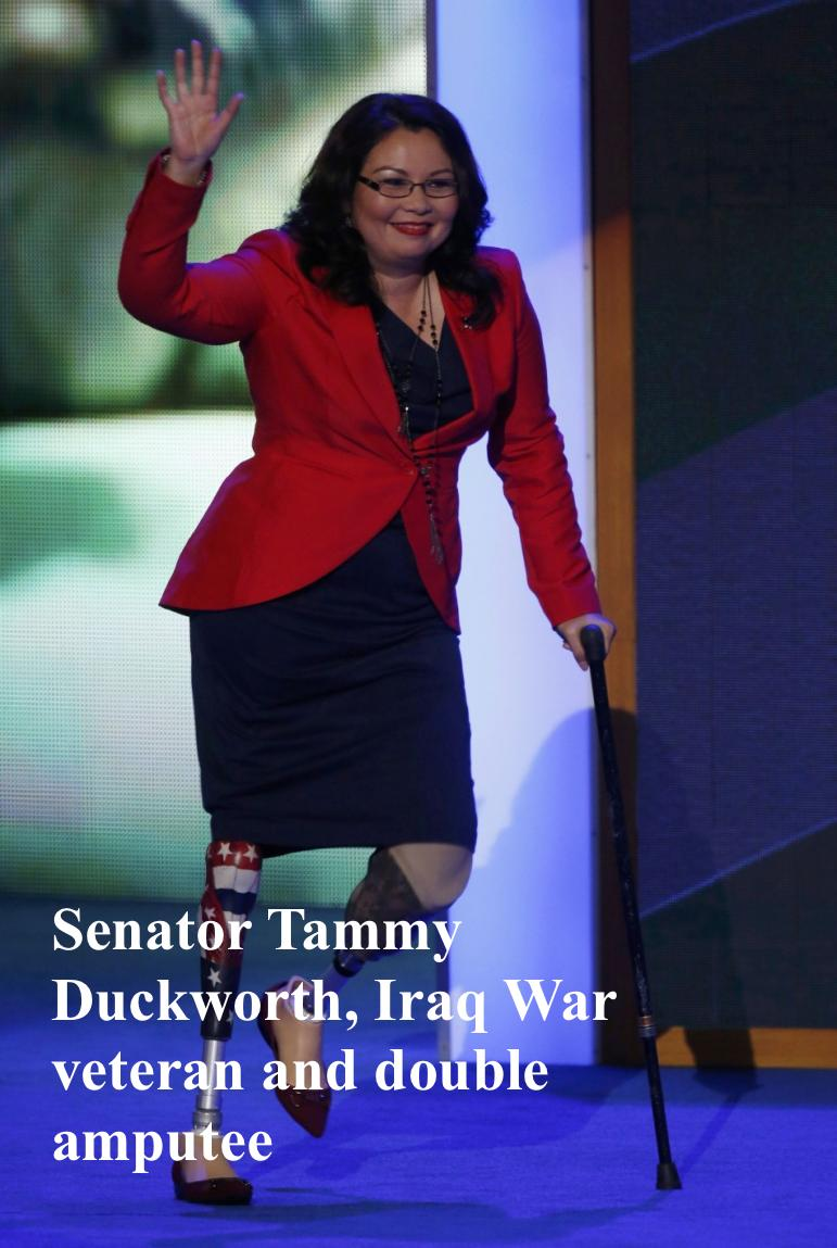 Senator Tammy Duckworth, Iraq War veteran, and double amputee. Mutual Assured Lunacy, postscript and Other stories of Trump and Megalomaniacs. marchmatron.com