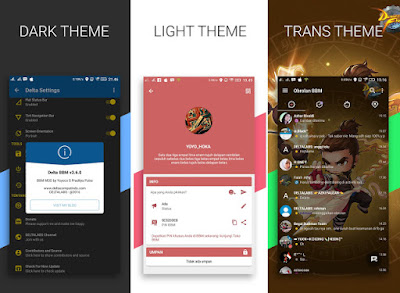 Updated BBM Mod Delta 3.0.0.18 Apk Clone Tema Transparan+Dark+Light