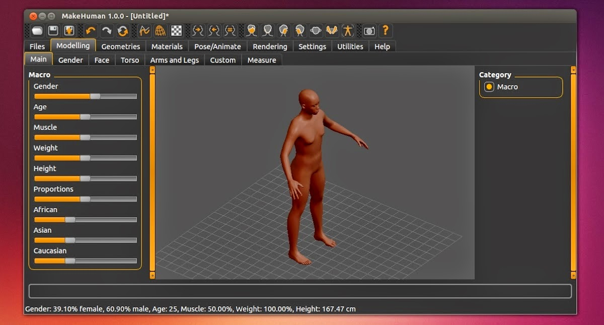 Make Human 3D rodando no Ubuntu