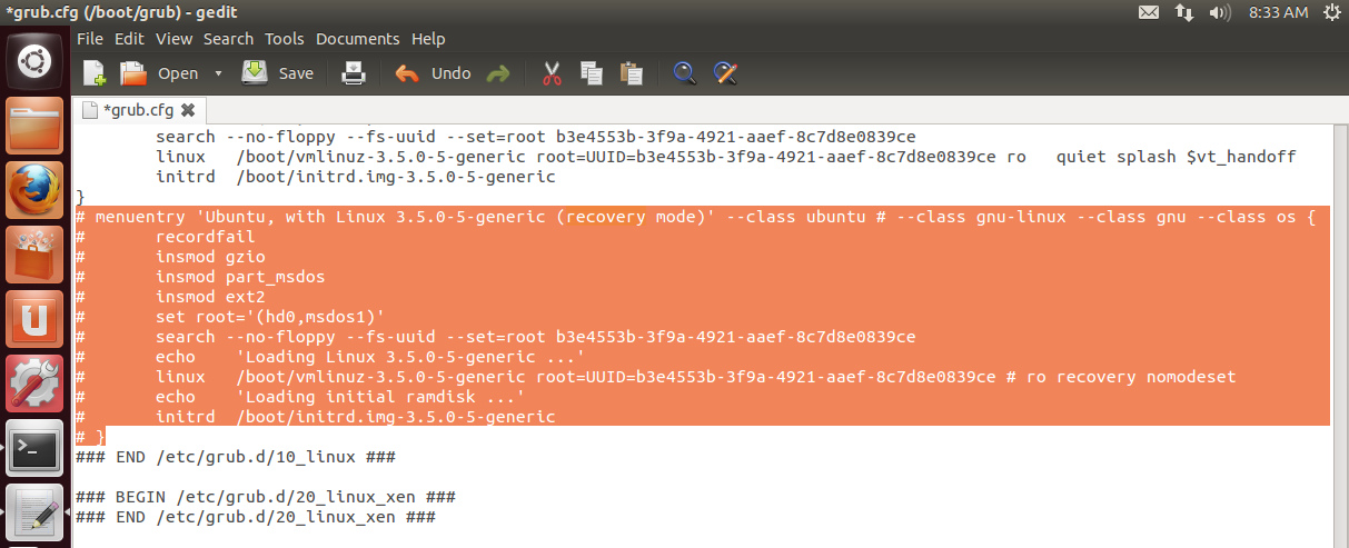 How To Disable Recovery Mode Under Ubuntu 12 10/12 04/Linux